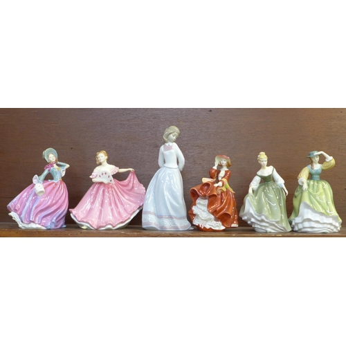 601 - Five Royal Doulton Pretty Ladies figures and a Lladro figure, all boxed...