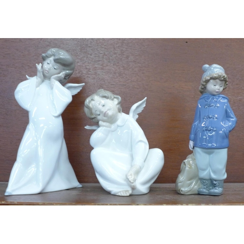 606 - Two Lladro figures and a Nao by Lladro figure...