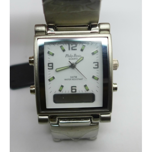 609 - Five fashion wristwatches including D&G and Philip Persio...