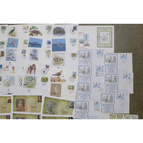 610 - Fifty-four stamp first day covers;-twenty-five WWF, ten Henry VIII, eight Christmas and eleven other...