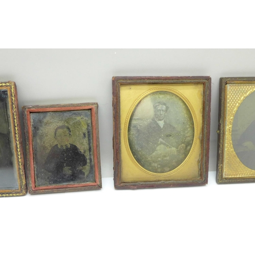 611 - Five late Victorian ambrotype photographs...