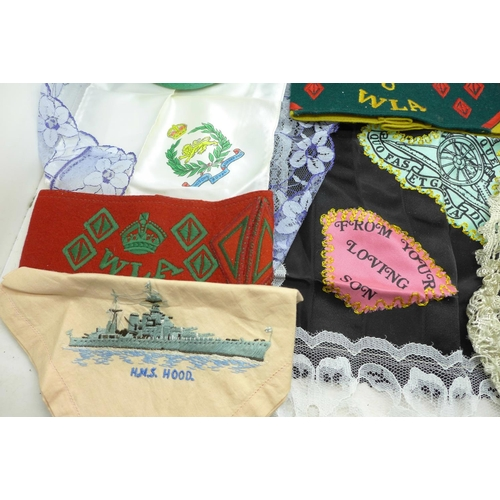 613 - Sweetheart handkerchiefs including Royal Scots Greys, The West Riding and HMS Hood, two WLA armbands...