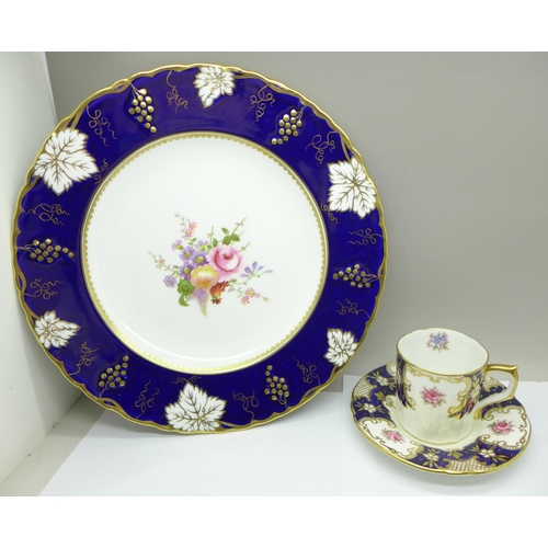 618 - A Royal Crown Derby cabinet plate and a coffee cup and saucer...