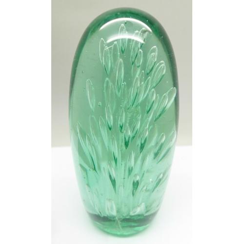619 - A Victorian glass dump, 15cm, a pewter match strike in the the form of bull dog, rim of liner a/f, a...