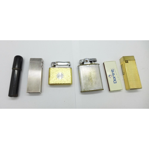 623 - Five lighters including a Dunhill...