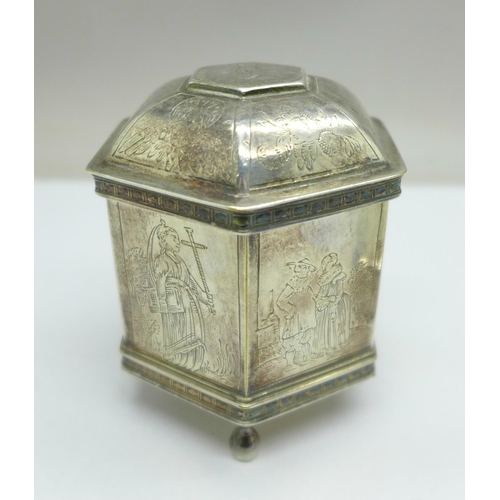 625 - A silver plated snuff/tobacco box with inscription dated 1853, 7cm, and a plated hexagonal shaped tr...