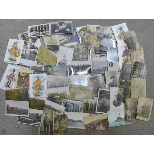 626 - Approximately 60 military postcards, (some a/f)...