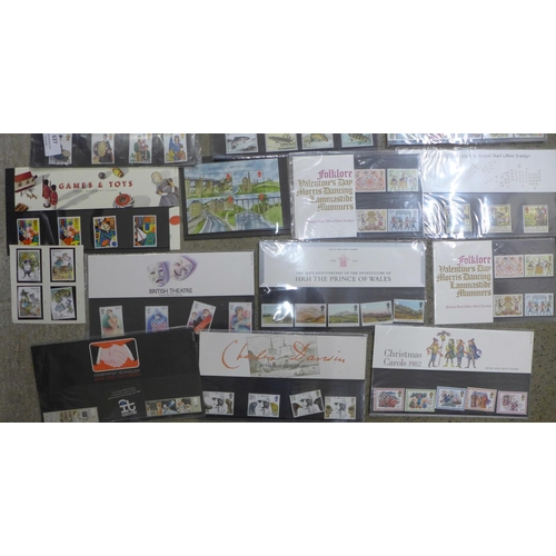 627 - Seventeen presentation packs of GB mint stamps, Royal Mail and Post Office, one miniature sheet and ...