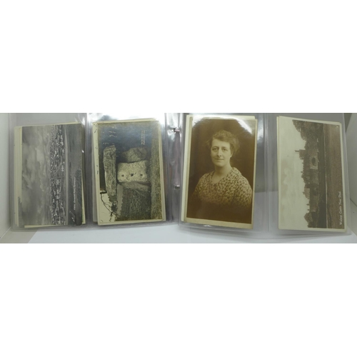 628 - Postcards; a collection of real photographic postcards, (44)...