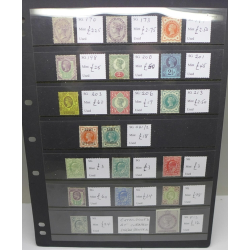 629 - Stamps; stock sheet of mint GB (Queen Victoria and Edward VII)...
