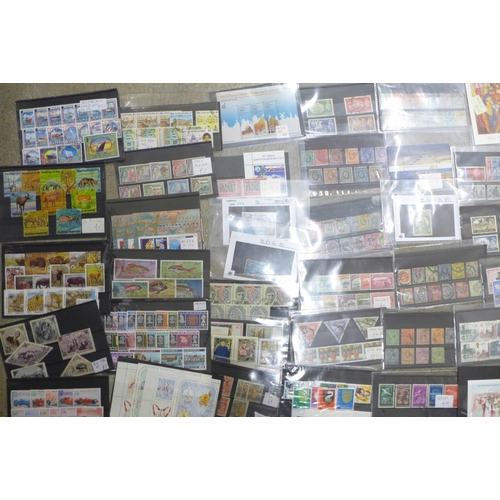 635 - Stamps;-worldwide stamps on stock cards, sets and part sets, aviation, fish, tall ships, (some highe...