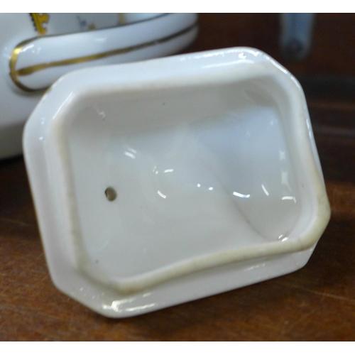 637 - A George Jones lidded jug, lid cracked, a Shelley Surrey Scenery lidded pot on pedestal, one small c...