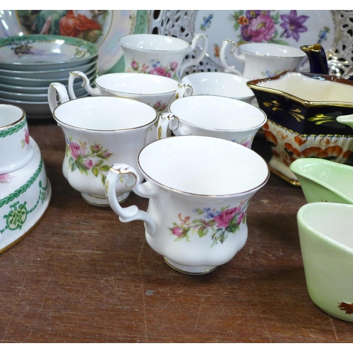 638 - Royal Albert Moss Rose coffee cups and saucers, (7+6), a lustre fruit set, an egg cup stand, a pierc...