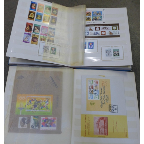 643 - Stamps; worldwide miniature sheets, loose and on cover, in two stock books...