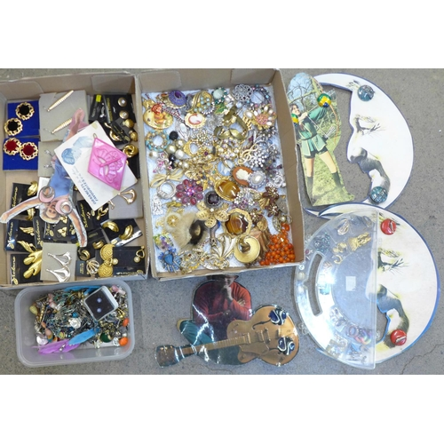 650 - A collection of brooches and clip-on and pierced earrings, some vintage...