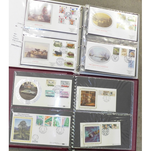 655 - Stamps; GB silk first day covers in two albums, including Benham, (106)...