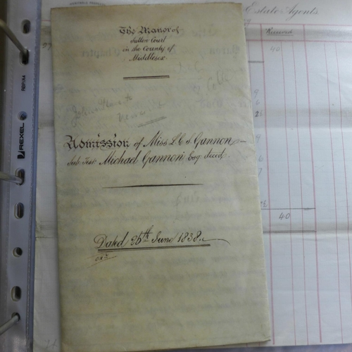 656 - A collection of ephemera; file of indentures and other legal and property papers, 1795 onwards...