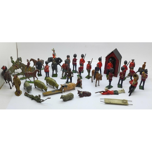 661 - A collection of lead soldier figures and others...