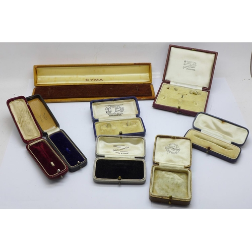 662 - Seven jewellery boxes and a Cyma watch box...