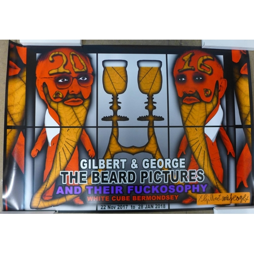 A set of six signed Gilbert & George posters, The Beard Pictures and Their Fuckosophy, 2017, 600 x 900mm each