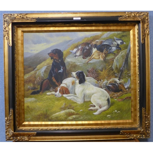 1 - A landscape with English setters and game, oil on canvas, 50 x 60cms, framed...