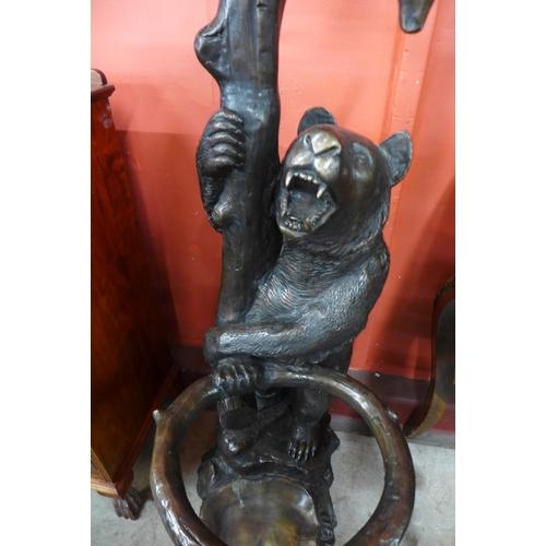 141 - A Swiss style bronze bear hallstand, 172cms h...