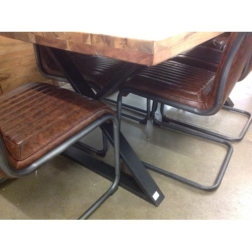 1535A - A Matrix light dining table with a set of six Novo chairs....