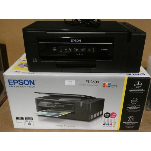 3036 - Epson Ecotank Et-2600 Printer, Rrp £114.99 + Vat (215-499) * This lot is subject to VAT...