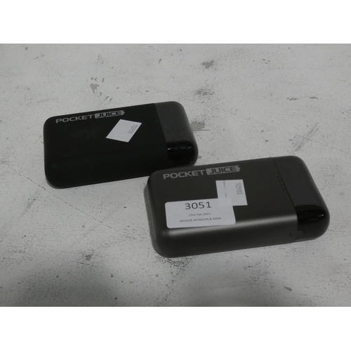 3051 - Two Pocket Juice Powerbanks (215-509) * This lot is subject to VAT...