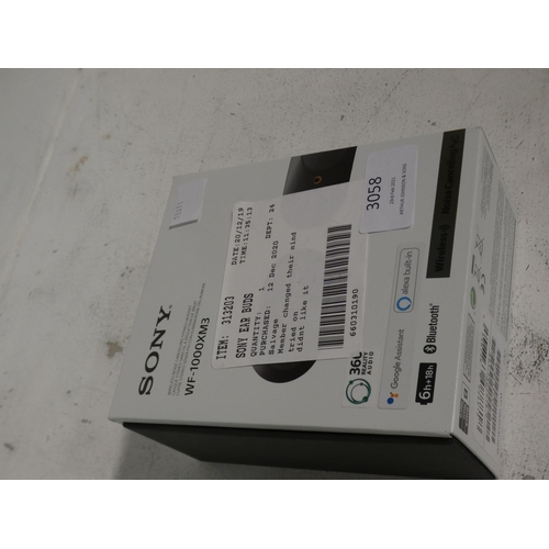 3058 - Sony Wireless Ear Buds (model WF-1000XM3), Rrp £129.99 + Vat (215-271) * This lot is subject to VAT