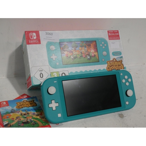 3060 - Nintendo Switch Lite (Turquoise with charging lead), Rrp £195.83 + Vat (215-281) * This lot is subje...
