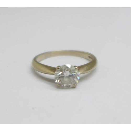 1293 - An 18ct white gold and diamond solitaire ring, 1.12carat diamond weight, colour I, clarity I1, 3.7g,...