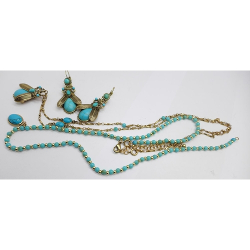 1381 - A turquoise set beetle necklace and matching earrings, and one other necklace...