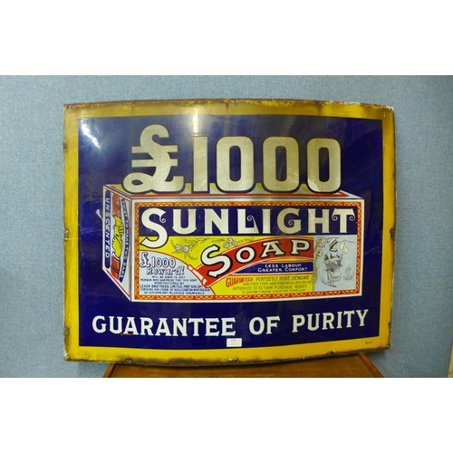 134 - A Sunlight Soap enamelled advertising sign, 69 x 92cms...