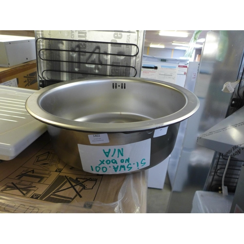 1402 - 450mm Installation Round Stainless Steel Sink, RRP £25 inc. VAT * VAT will be added to the hammer pr...