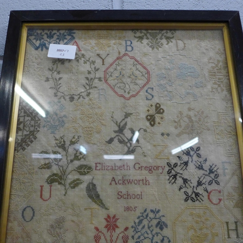 903 - A sampler dated 1805, Elizabeth Gregory, Ackworth School...