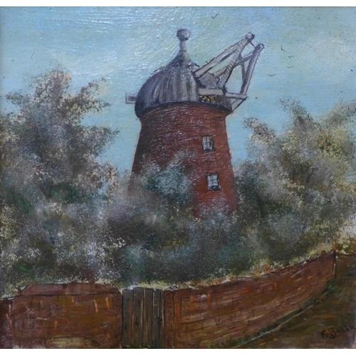 1 - F. Baker, Sneinton Mill, oil on panel, 12 x 13cms, framed...