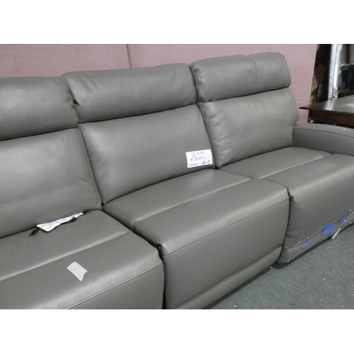 3287 - Grey Paisley Leather Sectional Power Recliner, RRP £1660 + VAT (219-120) * This lot is subject to VA...
