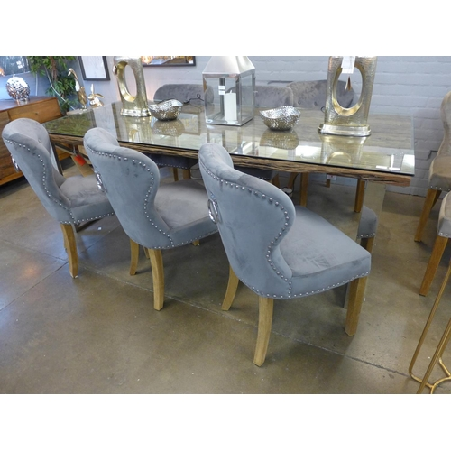 1341 - A Chennai 220cm dining table with six Arlo grey dining chairs....