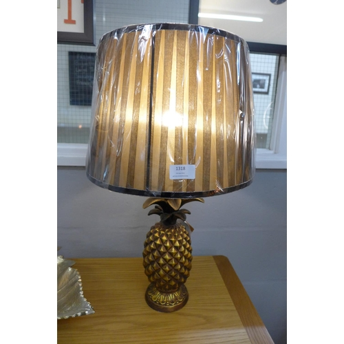 1338 - An Isla Art Deco pineapple table lamp with black pleated shade, height 59cm (1882432)   #...