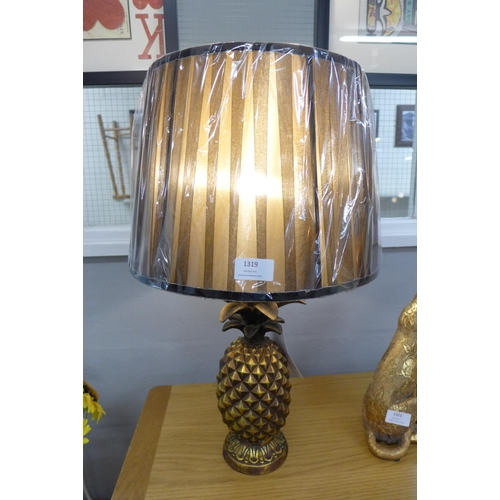 1339 - An Isla Art Deco pineapple table lamp with black pleated shade, height 59cm (1882432)   #...