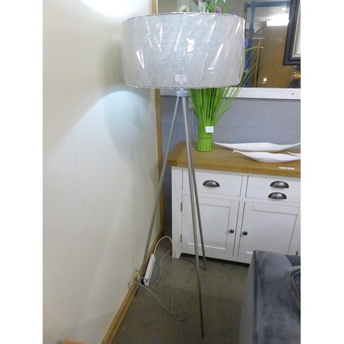 1345 - A brushed nickel floor lamp with grey shade (6698744)  #...