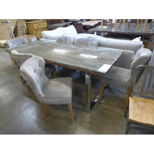 1346 - A railway sleeper 220cm dining table with six Arlo taupe dining chairs...