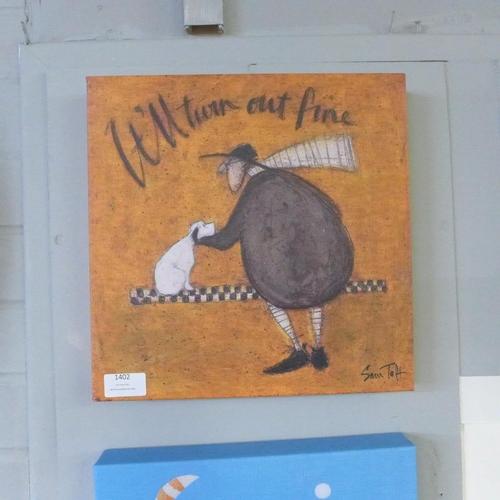 1382 - A Sam Toft canvas print, It'll Turn Out Fine, 30 x 30 (WDC917216)   #...