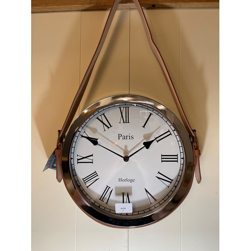 1409 - A round wall clock with leather belt strap, 33cm x 57cm (CL184112)   #...