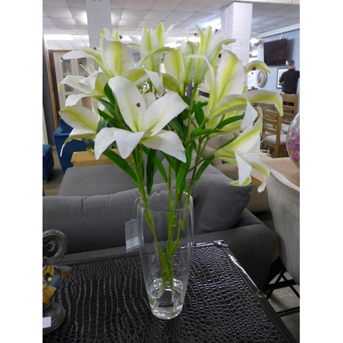 1442 - A spray of white lilies in a glass vase, 63cms (54846625)   #...