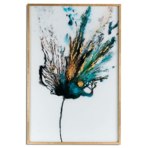 1450 - A large floral colour explosion glass image in a gold frame (2039064)   #...
