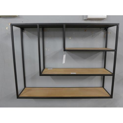 1468 - An Avondale iron and firwood triple floating wall shelf, 71 x 53cm (15709959)   #