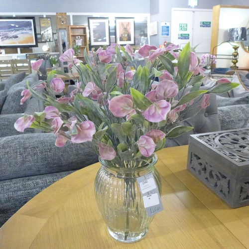 1487 - A sweetpea arrangement in a ribbed glass vase, 43cms (56647609)   #...