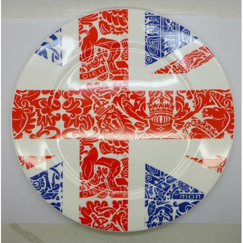 608 - A Royal Crown Derby plate, Britannia, second, 30.5cm...